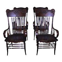 Set of 4 Victorian Carved Arm Chairs - Rare