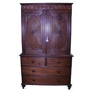 Rosewood Period Linen Chest Cupboard Heavily Carved
