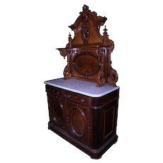 Marble Top Victorian Carved Huntsboard
