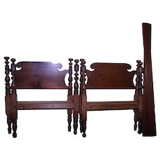 Pair of Period Country Acanthus Carved Twin Beds