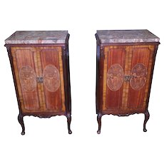 Pair of Marble Top French Inlaid End Tables