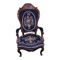 Victorian Needlepoint Gentleman's Chair - Civil War Era