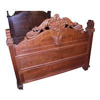 French Empire Heavily Carved Bed