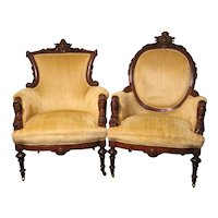 Pair of John Jelliff Arm Chairs – Jenny Lind Heads