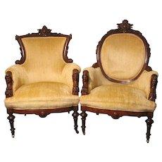 Pair of John Jelliff Arm Chairs – Jenny Lind Heads