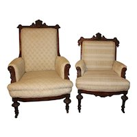 Pair of Victorian Upholstered Arm Chairs