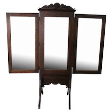 Triple Section Carved Oak Dressing Mirror - Cheval