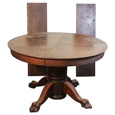 Victorian Oak Claw Foot Round 45 Inch Table with 2 Leaves