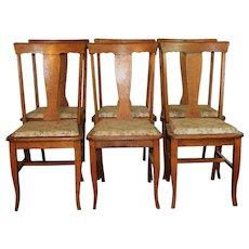 Set of 6 Oak T-Back Chairs