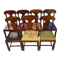 Set of 7 Empire Needlepoint Dining Chairs