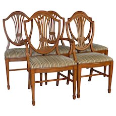 Set of 5 Mahogany Shield Back Dining Room Chairs – Hepplewhite