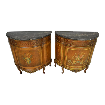 Pair of Marble Top Demi Lune Chests