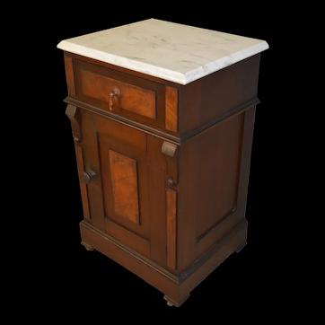 Victorian Burl Walnut Marble Top Half Commode Nightstand