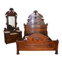 Victorian Marble Top Bedroom Suite – Rare Queen Size Bed