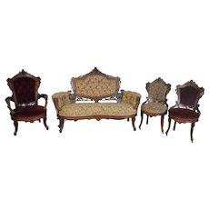 Four Piece Burl Walnut Victorian Parlor Set – Jenny Lind Heads