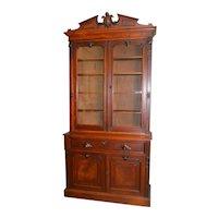 Victorian Burl Walnut Carved Butler's Desk Secretary