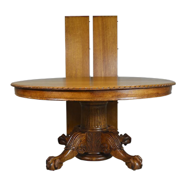Carved 60 inch Oak Banquet Table by Horner Flint