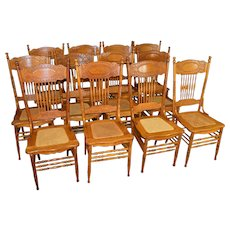 Set of 12 Oak #1 Larkin Pressback Dining Chairs - Refinished