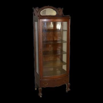 Oak Curved Door Curio Cabinet - Larkin