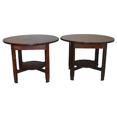 Pair of Stickley Mission Oak 40 Inch Round Tables