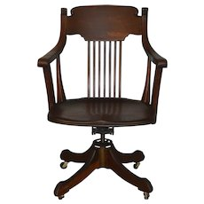 Victorian Tiger Sawn Oak Swivel Tilt Office Chair