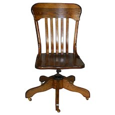 Oak Ladies Refinished Office Swivel Desk Chair