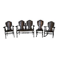 Four Piece Carved Mahogany Parlor Set with Dragons