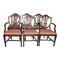 Set of 6 Mahogany Shield Back Dining Chairs – Twin Arms