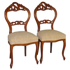 Pair of Stylish Victorian Carved Ladies Chairs