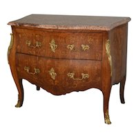 French Victorian Inlaid Marble Top Chest with Brass Ormolu