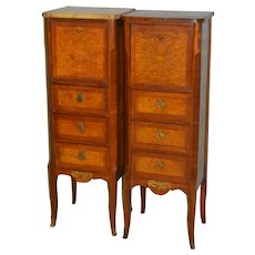 Pair of French Marble Top Boudoir Cabinets