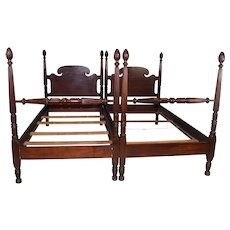 Pair of Custom Mahogany Twin Poster Beds by Charak