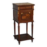 French Marble Top Brass Ormolu Nightstand