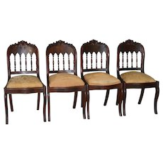 Set of 4 Period Empire Flame Mahogany Chairs