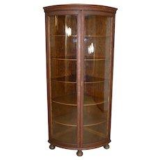 Oak Victorian Curved Glass Two Door Corner China Closet