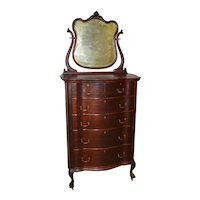 Victorian Mahogany Bevel Mirror Claw Foot Tall Chest