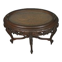 Carved Glass Top Serving Coffee Table