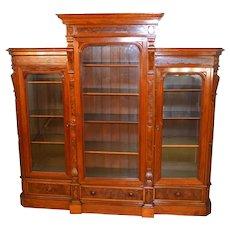 Victorian Triple Door Burl Walnut Bookcase