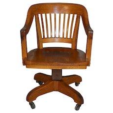 Oak Barrel Seat Jurors Office Chair