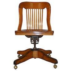 Oak Ladies Swivel Tilting Office Chair