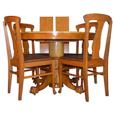 Round Oak Claw Foot Dining Table & 4 Chair Set