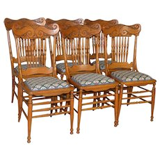 Set of 6 Oak Pressback Dining Chairs
