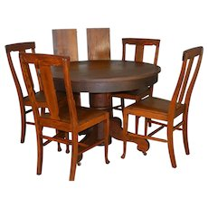 Oak Dining Room Set – 4 Chairs & Dining Table Extra Clean Original