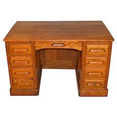 Victorian Oak Raised Panel Lawyers Bankers Flat Top Desk