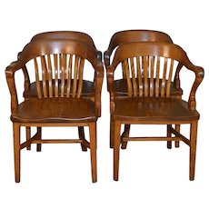 Set of 4 Oak Lawyers Bankers Arm Chairs