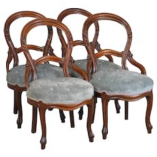 Set of 4 Victorian Carved Parlor Dining Chairs