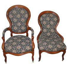 Victorian Gentleman & Ladies Finger Carved Parlor Chairs