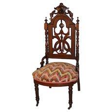 Victorian Walnut Slipper Boudoir Carved Chair
