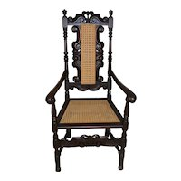 Antique Carved Master Throne Arm Chair