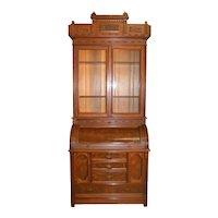 Victorian Eastlake Heavily Carved Cylinder Secretary Desk